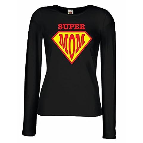 Weibliche langen Ärmeln T-Shirt Super MOM - für Frau Geschenke
