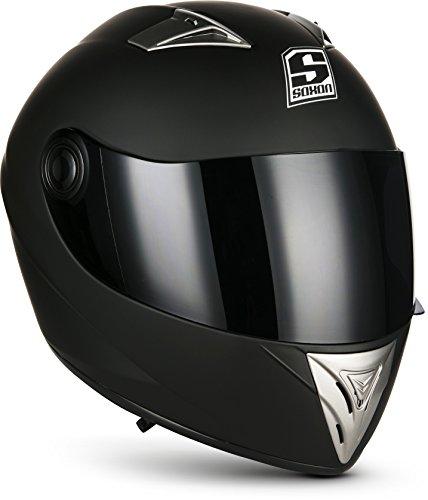 SOXON ST-550 Fighter · Integral-Helm Scooter-Helm Urban Motorrad-Helm Roller-Helm Cruiser Sport Helmet Sturz-Helm · ECE zertifiziert · inkl. Sonnenvisier · inkl. Stofftragetasche · Schwarz · XS (53-54cm)