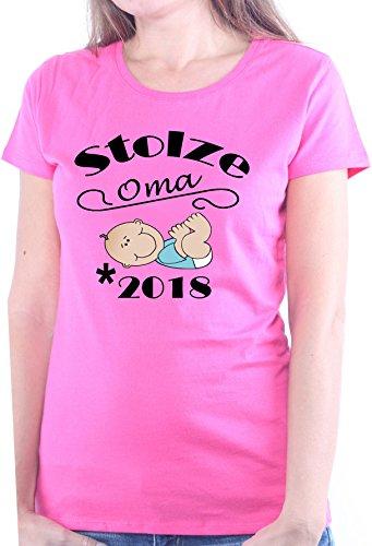 Mister Merchandise Ladies Damen Frauen T-Shirt Stolze Oma - 2018 Tee  Mädchen bedruckt Pink