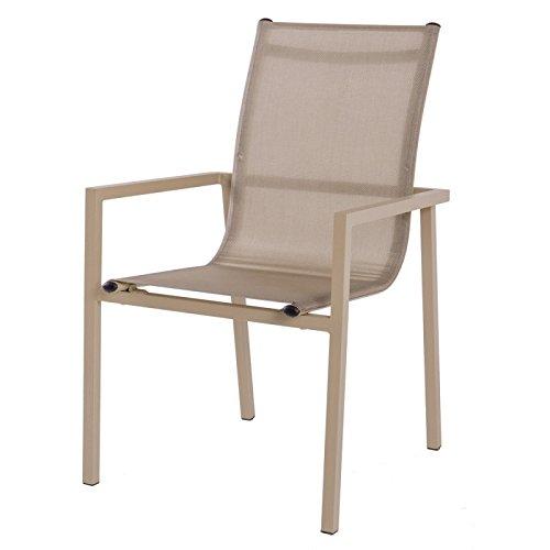 Générique Lot de 2 chaises de Jardin en Aluminium et textilène Beige CADIX - L 57 x l 56.5 x H 92.5