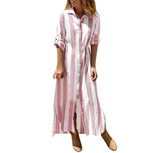 Damen Leinen Hemdkleid Strand Kleid Böhmischer Business Hawaii Urlaub Maxikleider Lang Stripe Elegant Kleider Blusekleid Sexy Partykleid Sommerkleid Festliches Shirtkleid Cocktailkleid Abendkleid -