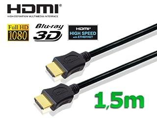 conecto HDMI Kabel HIGH SPEED mit Ethernet (vergoldete Stecker, 4K, Ultra-HD, Full HD 1080p, 3D) 1,5m schwarz (B004HGJB8A) | Amazon price tracker / tracking, Amazon price history charts, Amazon price watches, Amazon price drop alerts