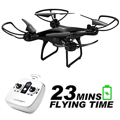 allcaca RC Drone for Childeren Quadrocopter 23 Minutes Long Battery Life with LED Lights, 3D Flip Headless Mode One Key Start Landing Three Speed Mode Best for Beginners Black