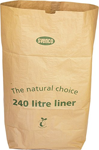 Alina, sacchetto in carta biodegradabile da 240 L per rifiuti compostabili o per bidoni della spazzatura con ruote + guida al compostaggio (lingua italiana non garantita), 8 sacks