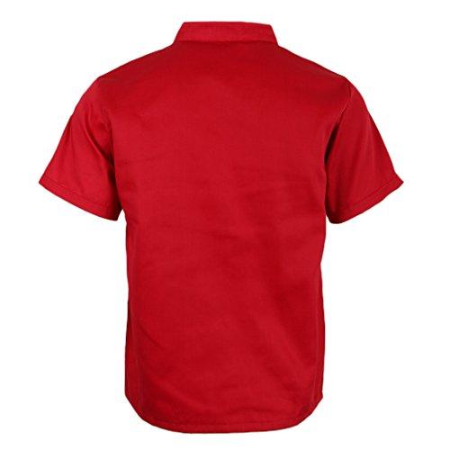 P Prettyia Atmungsaktive Kurzarm Kochjacke Backjacke Kochkleidung Koch Gastronomie Berufsbekleidung Arbeitskleidung für Restaurant Gastronomie - Rot, 2XL - 2