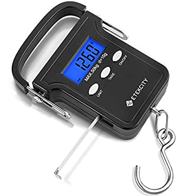 Etekcity 50kg/110lb Luggage Scales Electronic Digital Travel Postal Fishing Hook Scale, with White Backlit LCD Display, Data Hold Function, Tare Function, Ergonomic Handle and Stainless Steel Hook from Etekcity