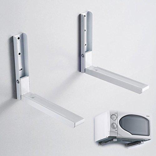 Homdox faltbare Mikrowellenhalterung Mikrowellenhalter für Mikrowelle Backofen, Grill, Ofen, Wand Halterung, Wandhalterung Mikrowelle Halterung Ablage, inkl. Montagematerial, Weiß