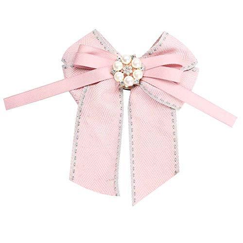 MJARTORIA Damen Schleife Brosche schwarz Streifen Anstecknadel mit Strass Frauen Kragen Schleifenbrosche Modeschmucke für Partys Hochzeit Bankett (rosa#02)