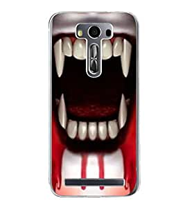 PrintVisa Designer Back Case Cover for Asus Zenfone 2 Laser ZE500KL (5 Inches) (Horror Ghost Horror Images teeth with Blood)