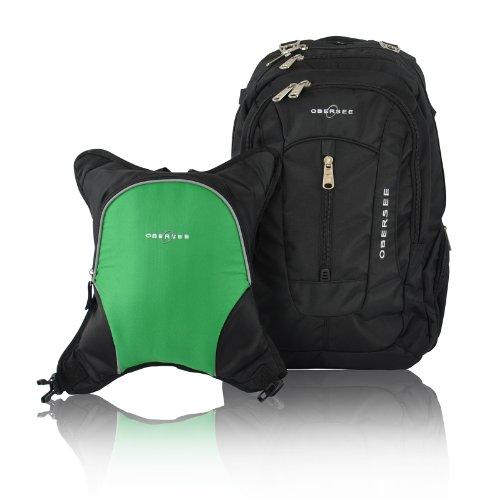 obersee-bern-mochila-para-panales-con-bolsa-isotermica-separable-negro-y-verde