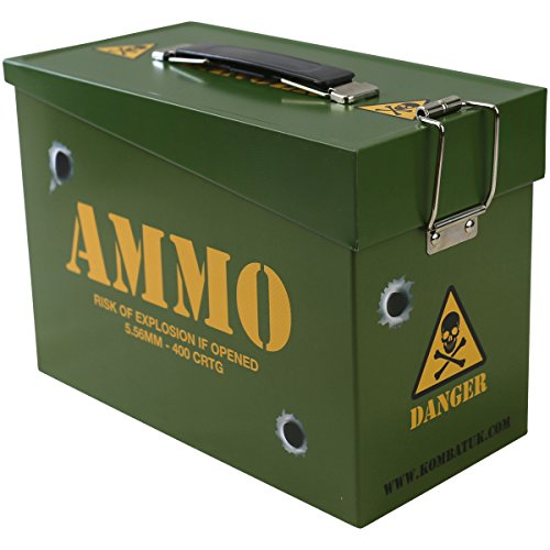 Combat Airsoft Army Style Ammo Tin Battery Storage BB's Magazines Green (Bb Batterie)