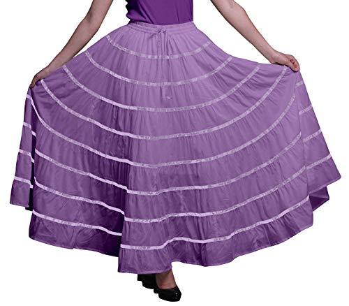 Phagun Frauen indische Kleidung Lavendel Lange beiläufige Rock Maxi-Sommer-Abnutzungs-44 -
