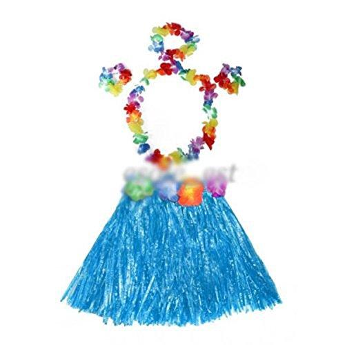 Hula Mädchen Kostüm (HuaYang Blumen Hula Gras Rock Phantasie Kurz Kleid Armband Kostüm Rock für Kinder)