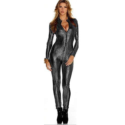 Schlange-haut-design (Shisky Cosplay kostüm Damen, Halloween-Overall offenen Brustkorb Reißverschluss Bühne Schlange Haut Riss Design Spiel uniform)