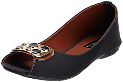 Nell Women's Black Ballet Flats - 7.5 UK (425)