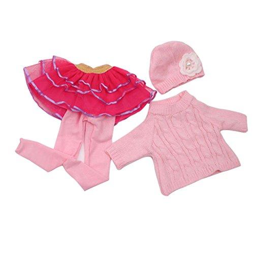 Sharplace 4pcs/ Set Puppen Winter Kleidung Outfit für 18 Zoll Puppe - Pullover + Spitzen Tüllrock + Hut + Strumpfhosen