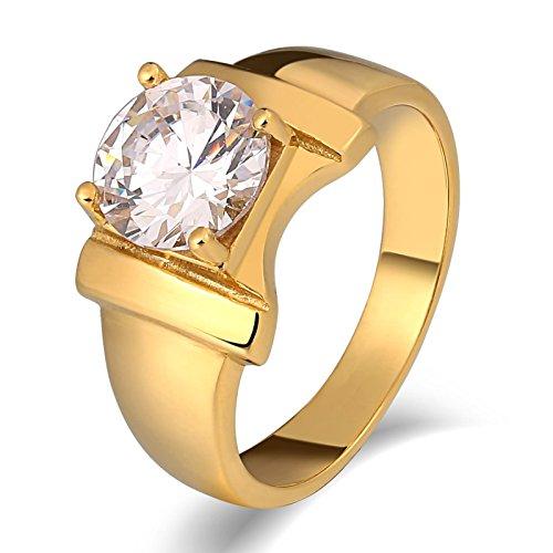 Aidsaer Ringe Gold Mit Stein Ring Männer Weissgold Zirkonia Knoten Runde Breite 10 Mm Ringgröße 57 (18.1) Jahr,Immer Bei Dir, Ring Für Vater
