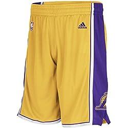 adidas Woven NBA Team Short - Pantalón corto para hombre, color amarillo / morado / blanco, talla S