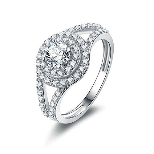 (Custom Ringe)Adisaer Ring 925 Sterling Silber Damen Kreis Runde CZ Zwei Linien Strass Trauringe Größe 61 (19.4) Hochzeit (Frosch Und Kostüm Paar Prinzessin)