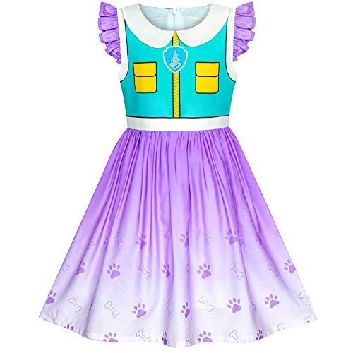 Everest Paw Patrol Kostüm - Sunboree Mädchen Kleid Pfote Patrouillieren Everest Kostüm Halloween Party Gr. 116