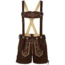 Kurze Damen Trachten Trachtenlederhose Lederhose inkl. Trägern, dunkelbraun, Rindsveloursleder
