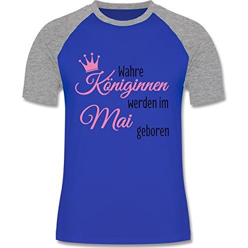 Geburtstag - Wahre Königinnen werden im Mai geboren - zweifarbiges Baseballshirt für Männer Royalblau/Grau meliert