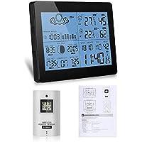 Sookg Color Estación meteorológica inalámbrica con Temperatura de pronóstico Humedad Enchufe UE Alarma y Snooze Termómetro Higrómetro Reloj