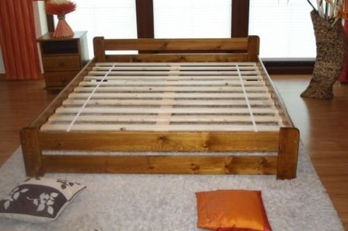 Double Bed 4ft6 Solid Pine Wood in Oak colour