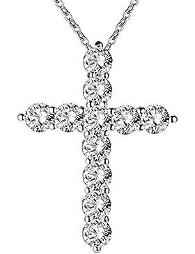 Hals Kette Halskette 925 Sterling Silber Strass Kreuz Anhänger
