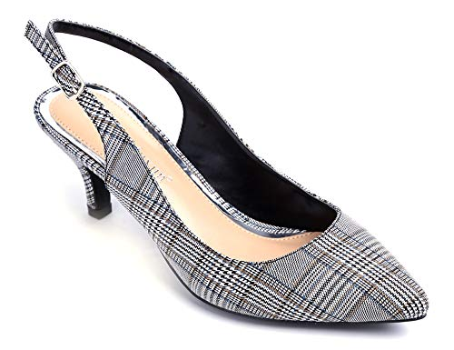 Plaid Schuhe (Greatonu Slingpumps Kitten Absatz Pointed Toe Schwarzweiss-Plaid Größe 38EU)