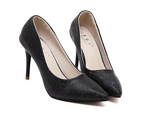 GS~LY Scarpe con punta a spillo paillettes disegno multicolore scarpe tacchi alti Gold