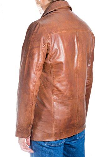 Hommes Ch‰tain en cuir italien RŽel EquipŽ deux boutons en cuir classique Blazer Marron