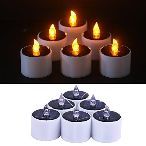 Molie 6 piezas velas sin llama, la energía solar LED luz del té Velas, amarillas Flicker la luz del té Velas