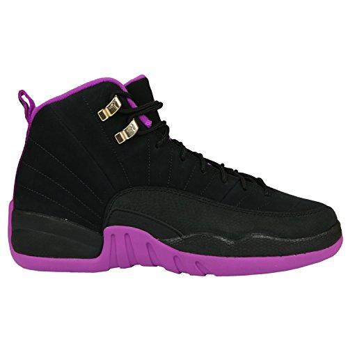 Nike Mädchen Air Jordan 12 Retro GG Basketballschuhe, Black (Black (Schwarz/Gold Star MTLC-Hypr VLT), 38.5 EU