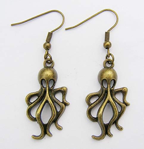 Farbe Bronze Octopus Ohrringe, Bronze Haken, 3cm Drop Hand Made