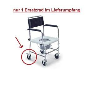 Behrend-Homecare 21500053 Ersatzrad mit Bremse für Toilettenstuhl Duschstuhl fahrbar