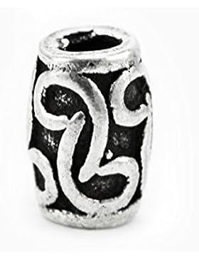 Bartperle mit Blumenranken aus Silber ID 7 mm - Perle für Dreadlocks Dreads