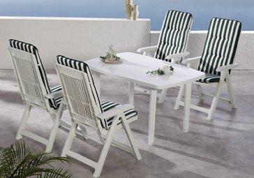 Beauty.Scouts 9tlg Gartengarnitur Sitzgruppe Algarve inkl. Verschieden Farbenden Sitzgarnituren Weiß