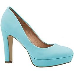 Elara Moderne Damen High Heels | Stiletto Schuhe | Plateau Pumps Größe 36, Farbe Blau