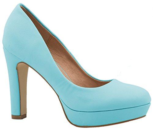 Elara Moderne Damen High Heels | Stiletto Schuhe | Plateau Pumps | Chunkyrayan E22321-Blue-38