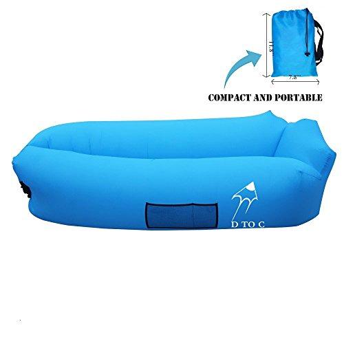 DTOC wasserdichtes aufblasbares Air Sofa lazy lounger Bed luft sitzsack Liege tragbar Air Betten Schlafen Sofa Couch mit Mit Kissen für Reisen, Camping, Strand, Park, Backyard USW. (Blau)