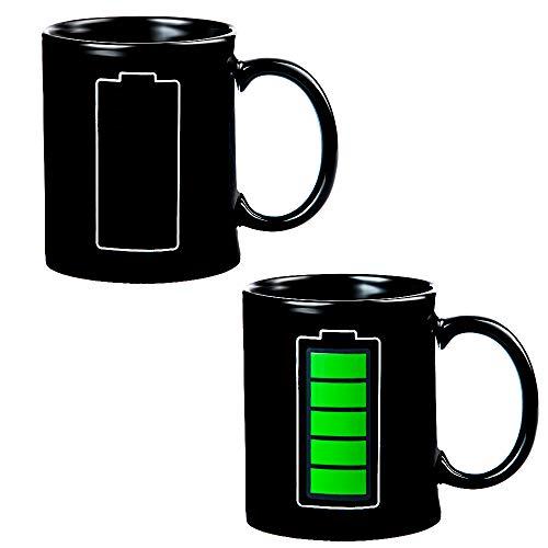 Kaffeebecher - batteriebetriebene Tasse, Thermometer empfindlicher Porzellan, Tee, Kaffeetasse, 100% Keramik, 284 ml (Power) ()