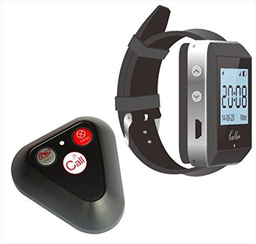 Kellnerruf Set: multifunktioneller Rufknopf YK 500-3H & Armbanduhr-Rufempfänger ZJ-41E | Restaurant pager Syst