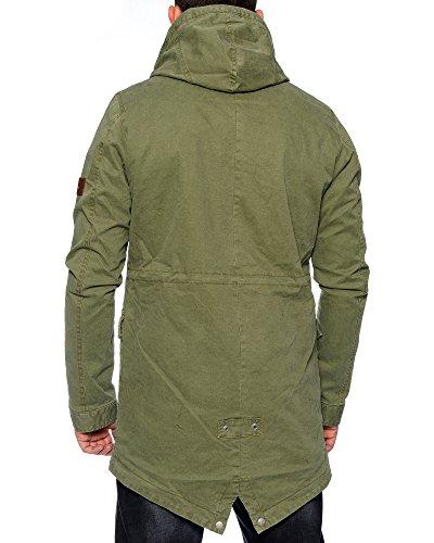 Husaria Jacke Herren Wärmejacke Armee Parka Kapuzenjacke Militärstil Mantel T903 Oliv