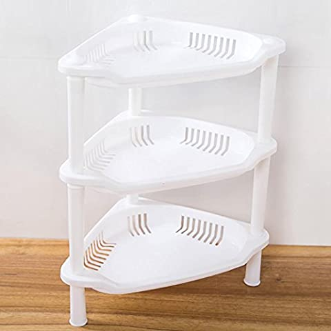 Bathroom Shelves, Tonwalk 3 Tier Plastic Corner Organizer Bathroom Caddy Shelf Kitchen Storage Rack Holder