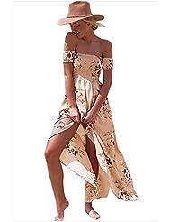 Collar de bra Vestido de manga corta impresión floral falda slit,S,Albaricoque