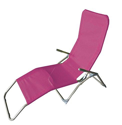 Saunaliege Gartenliege Liege Sonnenliege L142xB58xH99cm Strandliege Pink Relaxliege Gartenliege Liegestuhl Kippliege