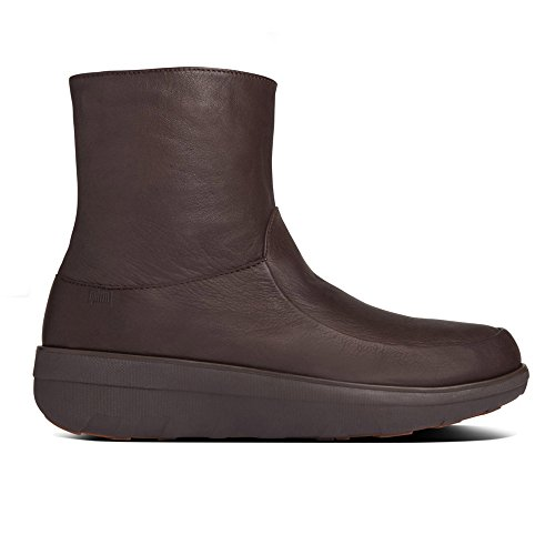 FitFlop Loaff Shorty Zip Boot Chocolat Brun Cuir Chocolate Brown