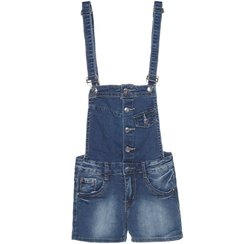 Mädchen Latz-Hose Dungarees Jeans Shorts Super Skinny Röhre Stretch Overal 21274, Farbe:Blau;Größe:152