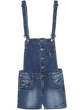 Mädchen Latz-Hose Dungarees Jeans Shorts Super Skinny Röhre Stretch Overal 21274